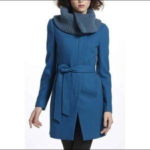 Anthropologie Elevenses Judith Teal Wool Coat Sz 8